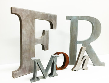 Antiqued wood letters available in many different color options
