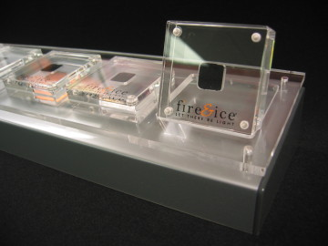 Custom diamond holder display case with high polished edges