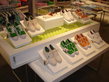 White PVC shoe risers and display case