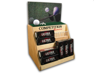 custom built wood golf ball display