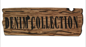 Engraved wood and brandished black letters