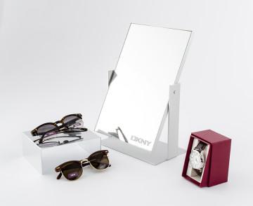 Custom fabricated mirror and lightweight aluminum riser