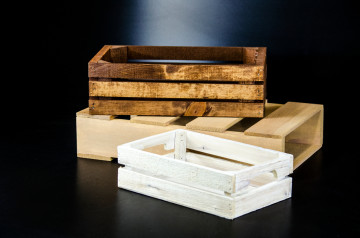 Stained and antiqued custom wood crates and display pallets