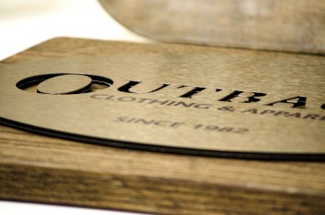 """Brushed brass sign face mounted to ¾"""" oak"""