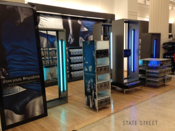 Lightweight fabricated floor displays with brushed nickel finish