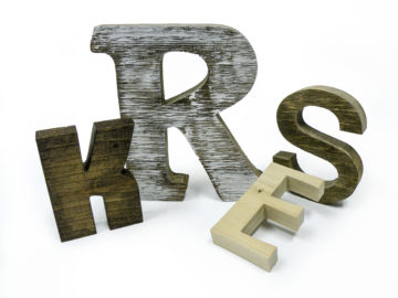 Rustic wood letters with different finishes