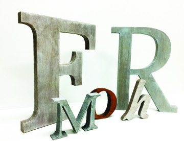 Antiqued wood letters in stock and custom colors