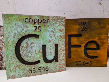"Copper patina and rust finish on 2"" thick MDF"