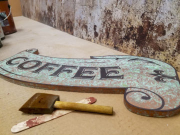 Copper Patina finish with flatbed print on PVC
