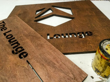 Laser cut wood with Minwax stain