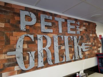 """1"""" thick wood letters routed, stained and painted"""