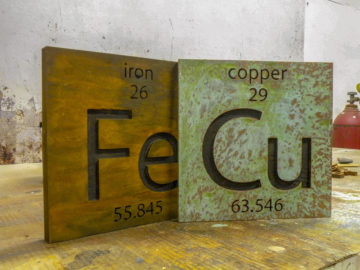 "Copper and Rust finish on 2"" thick MDF with engraved letters"